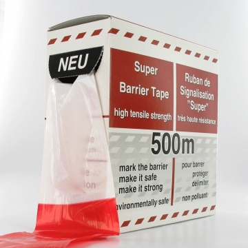 Afzetlint hdpe 80 mm 500 meter rood/wit